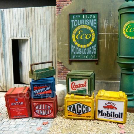Caisses publicitaires pour transport de bidons d'huile moteur WWII