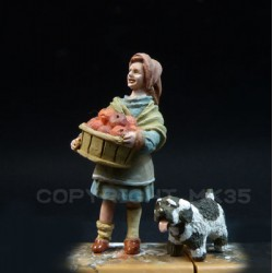 The grocer Léontine and her dog Loulou