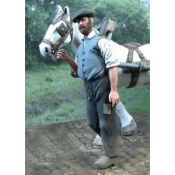 Man holding his horse
