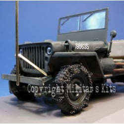 Front wheels equipped of chains for the ATLAS Willys Jeep