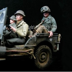 US soldier - Rear passenger of Atlas Willys Jeep