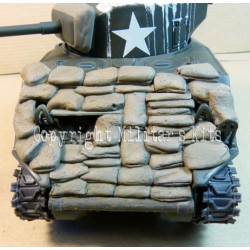Sand bag protection for Sherman tank