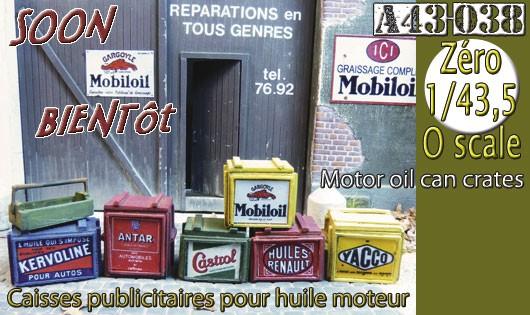 A43-038 Caisses publicitaires pour huile moteur