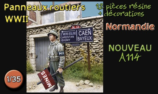 A114 Panneaux routiers Normandie WWII