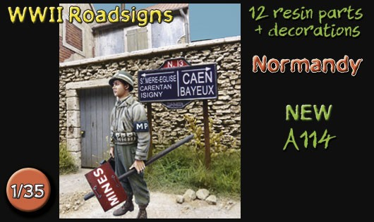 A114 WWII Normandy roadsigns
