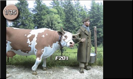 F201 Prisonnier Français et sa vache Janette